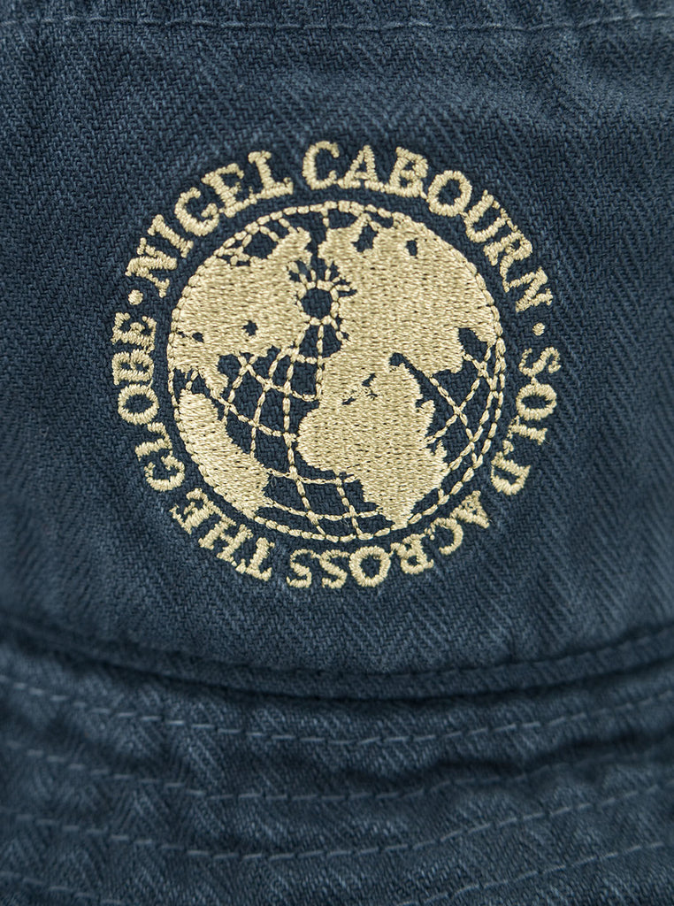 Nigel Cabourn Lybro - Globe Bucket Hat - Black Navy - Northern Fells