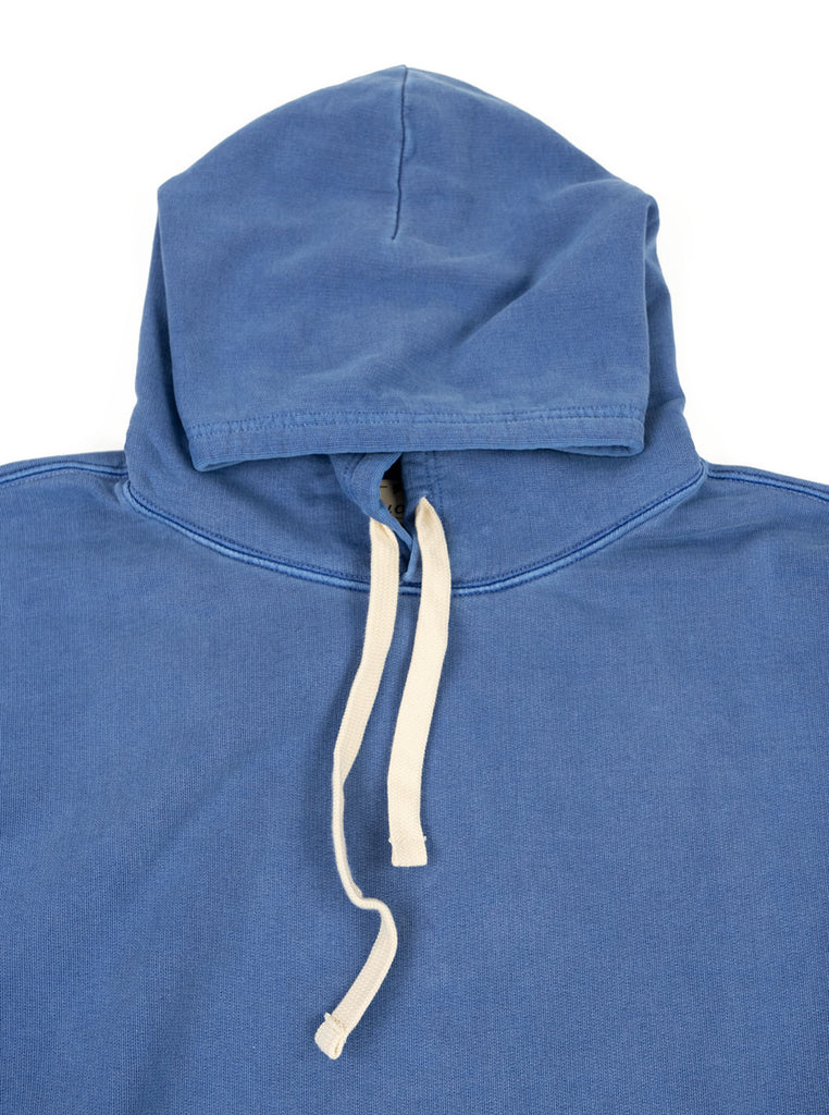 Nigel Cabourn Hoodie Washed Blue The Northern Fells Clothing Company Neck