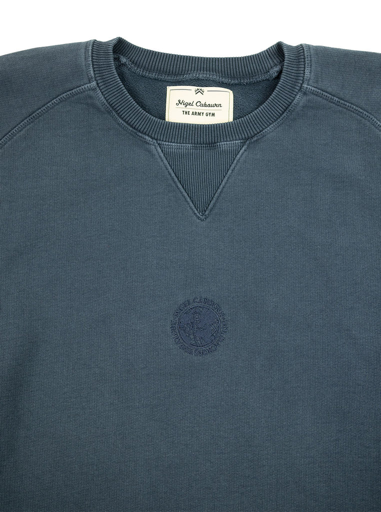 Nigel Cabourn Logo Crew Blue Black The Northern Fells Clothing Company Neck