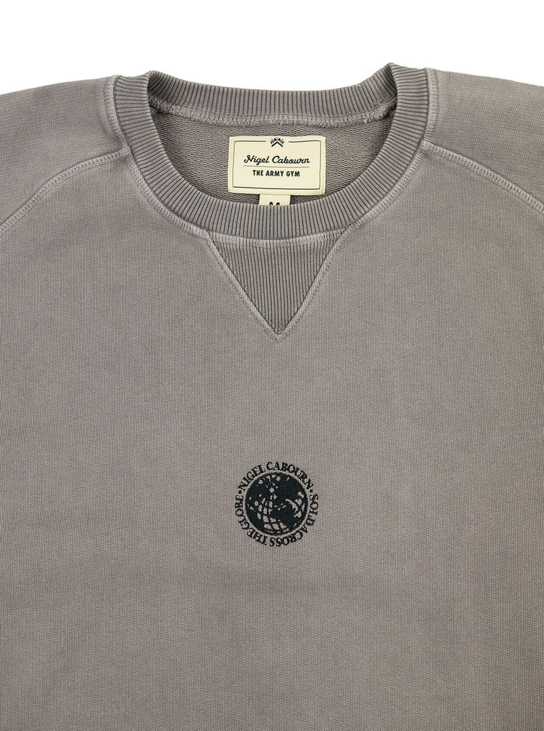 Nigel Cabourn Logo Crew RAF Grey The Northern Fells Clothing Company Neck