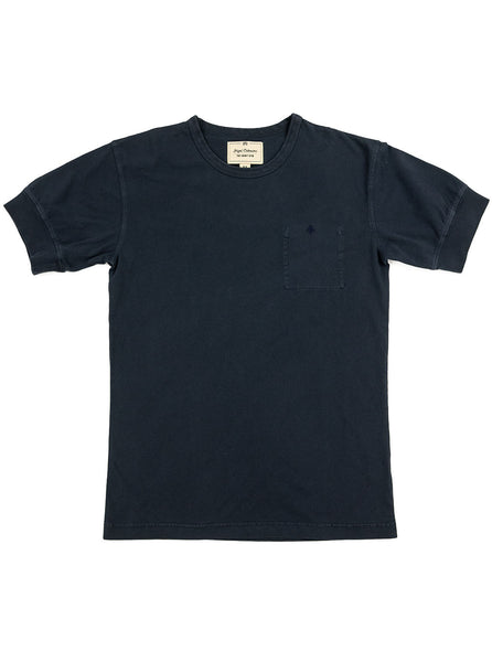 Nigel Cabourn Warm Up Military Tee Blue Black The Northern Fells Clothing Company Full