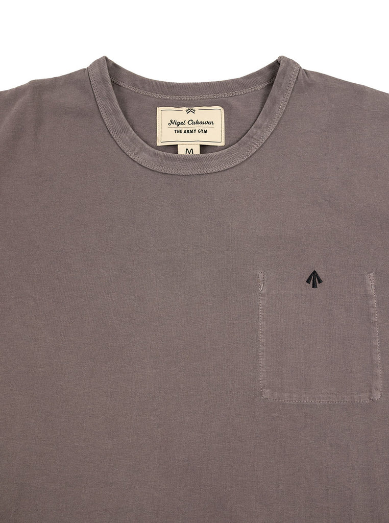 Nigel Cabourn Warm Up Military Tee RAF Grey The Northern Fells Clothing Company Neck