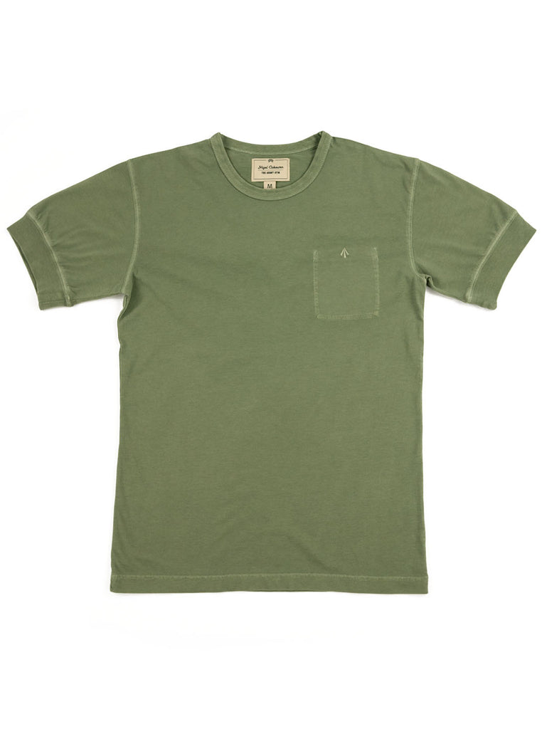 Nigel Cabourn Warm Up Military Tee Washed Army The Northern Fells Clothing Company Full