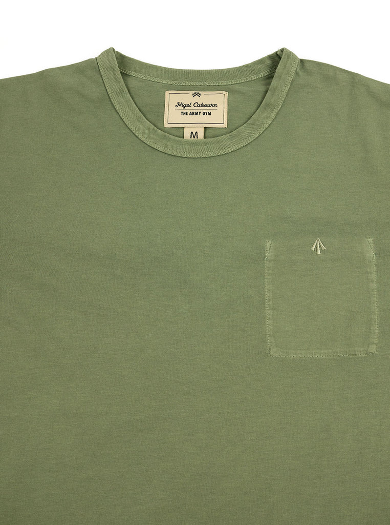 Nigel Cabourn Warm Up Military Tee Washed Army The Northern Fells Clothing Company Neck