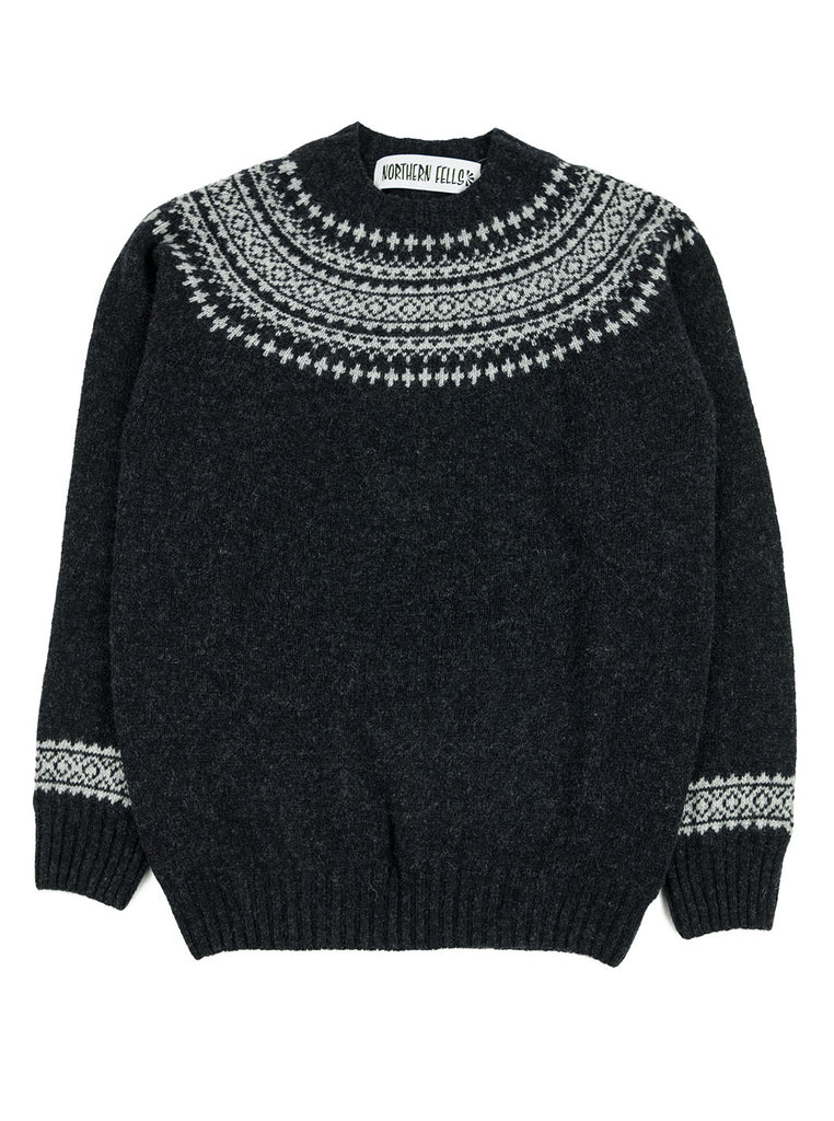 Northern Fells - Fair Isle Unisex Sweater - Charcoal/ Silver - Northern Fells