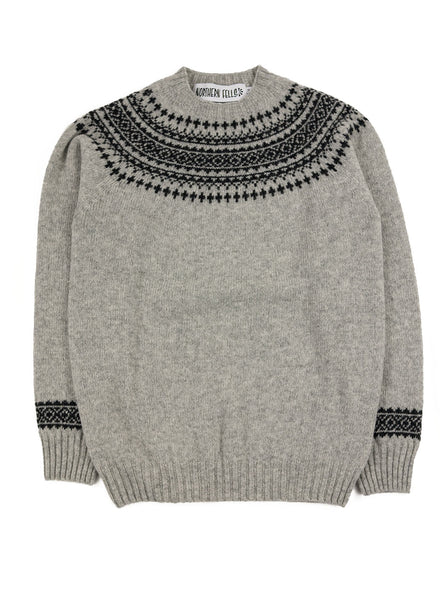Northern Fells - Fair Isle Unisex Sweater - Silver/ Charcoal - Northern Fells
