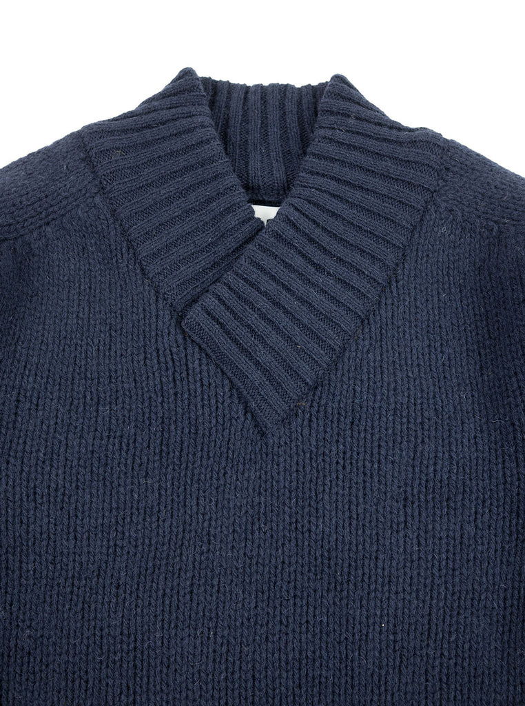 Northern Fells - Fishermans Shawl Neck Sweater - Navy - Northern Fells