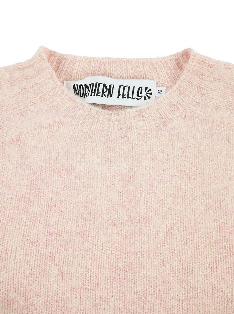 Northern Fells Shetland 100% Pure New Wool Sweater Strawberry Sherbet The Northern Fells Clothing Company Neck