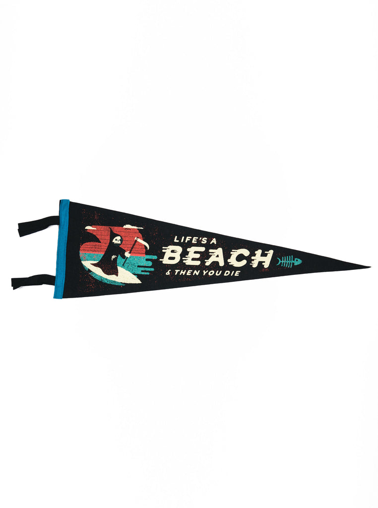 Oxford Pennant - Lifes a Beach - Felt Wool - Black/ Turquoise/ White/ Multi - Northern Fells
