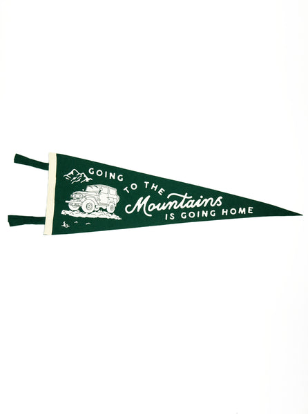 Oxford Pennant - Going to the Mountains is Going Home - Felt Wool - Green/ White - Northern Fells