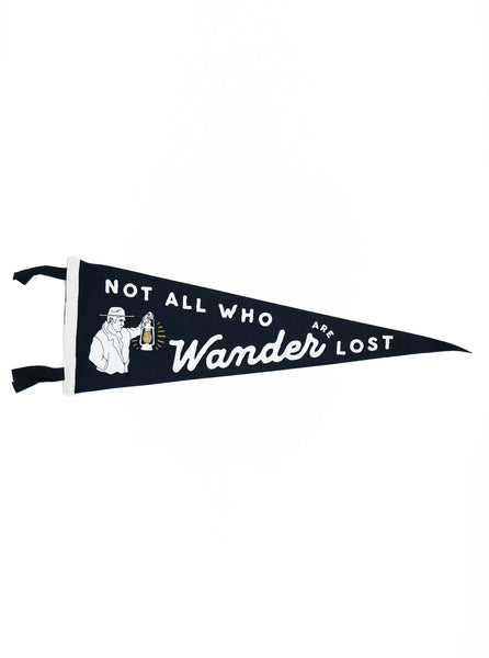 Oxford Pennant - Not All Who Wander are Lost - Felt Wool - Navy/ White - Northern Fells