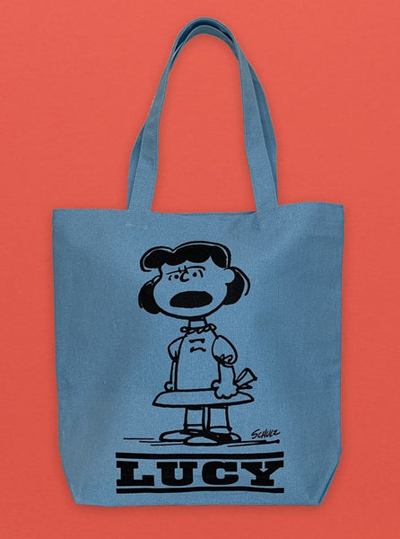 Peanuts Tote Blue Lucy Charlie Brown The Northern Fells Clothing Company Front