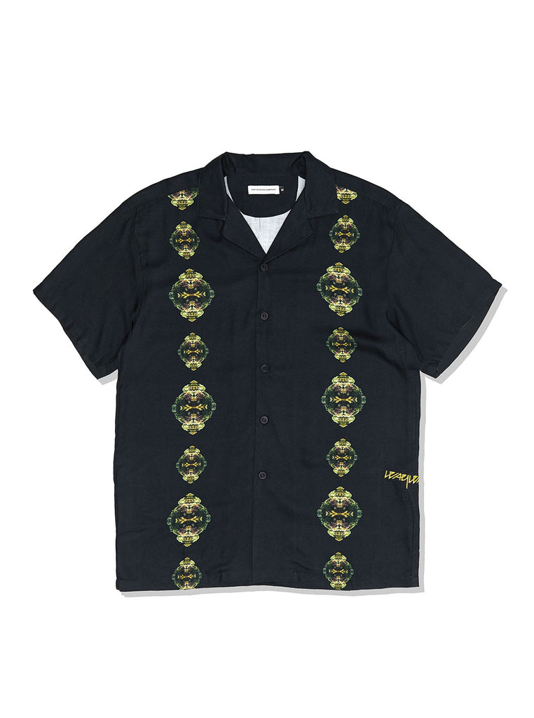 Pop X Wayward Coral Links Short Sleeve Shirt Black The Northern Fells Clothing Company Front
