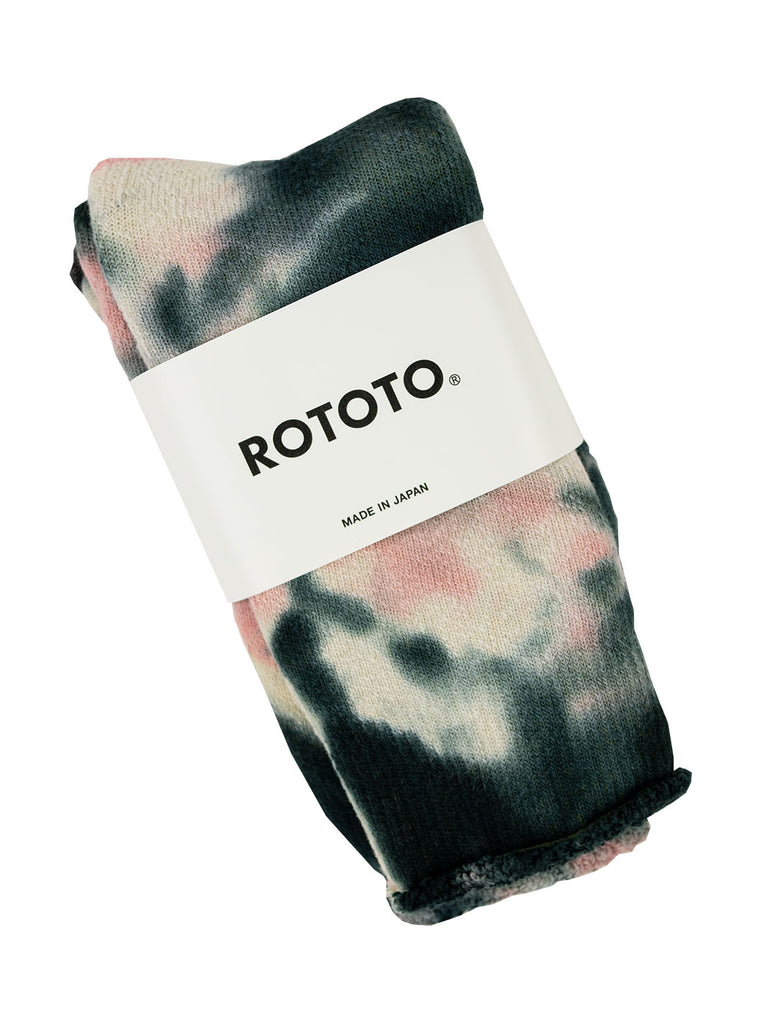 ROTOTO R1331 Tye Dye pile Socks Black Pink The Northern Fells Clothing Company Folded