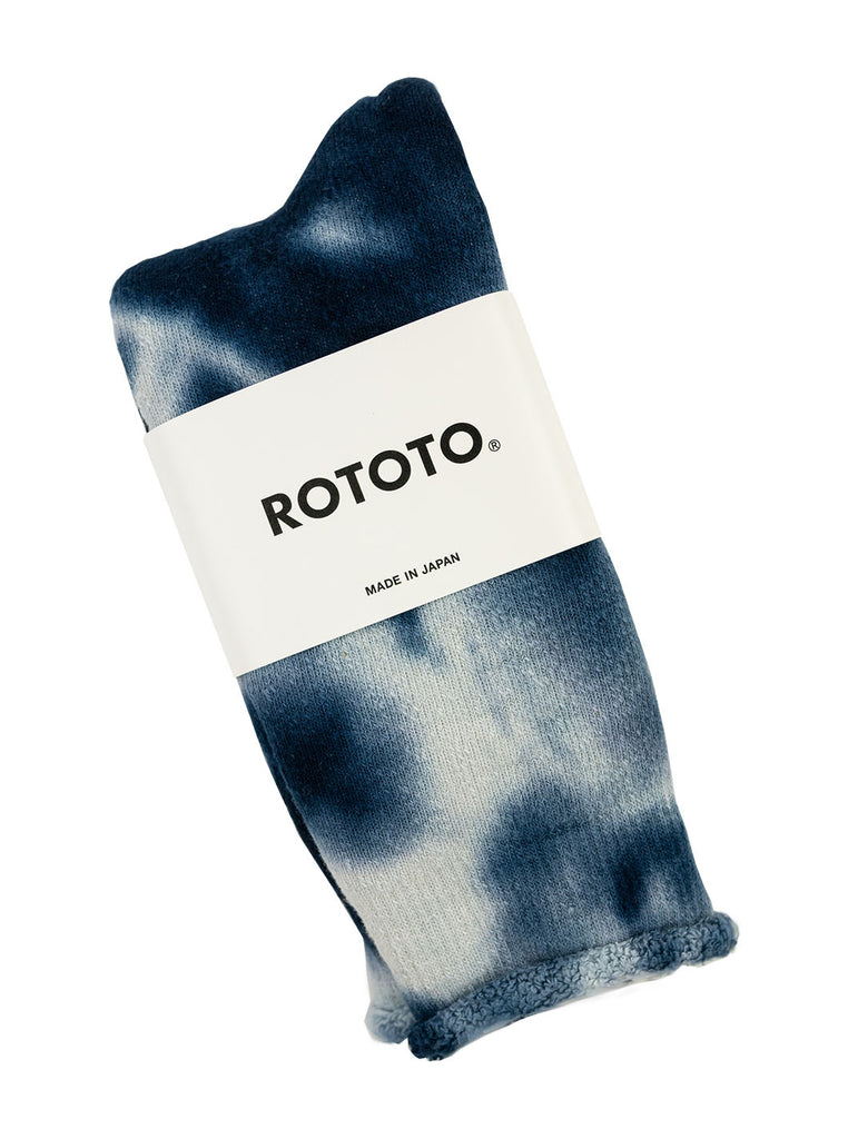 ROTOTO R1331 Tye Dye Pile Socks Navy White The Northern Fells Clothing Company Folded