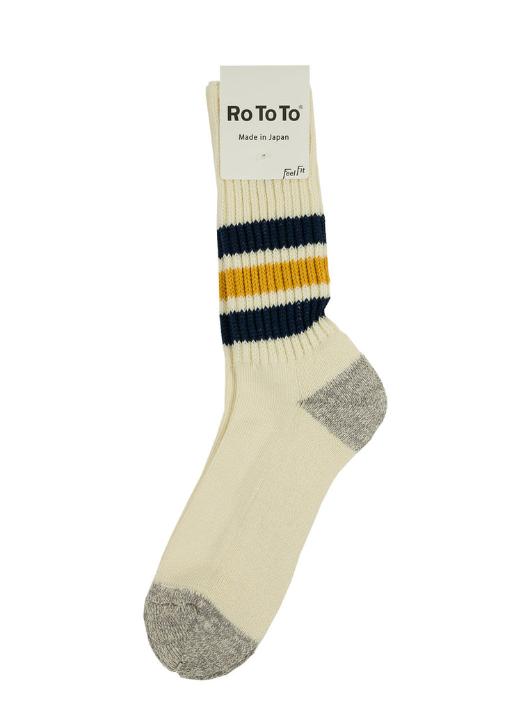RoToTo - Coarse Ribbed Old School Socks - Navy/ Yellow - Northern Fells