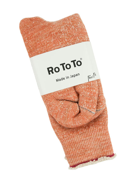 RoToTo Double Face Merino Socks Orange The Northern Fells Clothing Company Detail