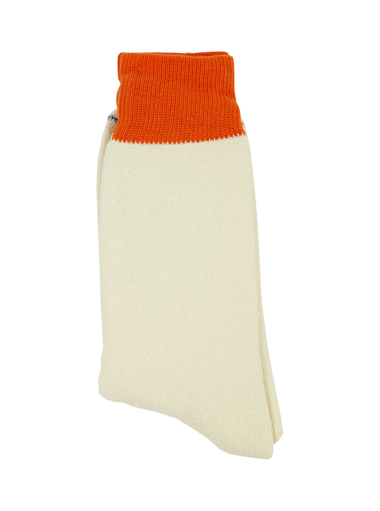 RoToTo Double Faced Silk Cotton Orange White R1034 The Northern Fells Clothing Company Flat