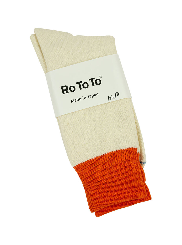 RoToTo - Double Faced Silk And Cotton Socks - Orange/ White - Northern Fells