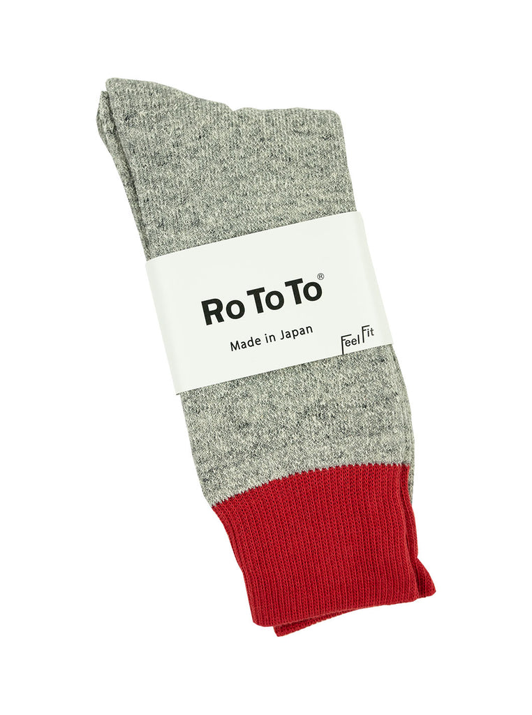 RoToTo Double Faced Silk Cotton Red Grey R1034 The Northern Fells Clothing Company Full