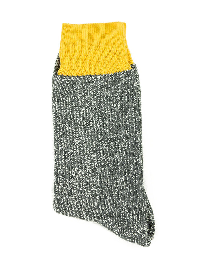 RoToTo Double Faced Silk Cotton Yellow Grey Socks R1034 The Northern Fells Clothing Company Flat