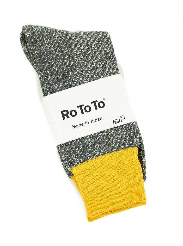 RoToTo Double Faced Silk Cotton Yellow Grey Socks R1034 The Northern Fells Clothing Company Full