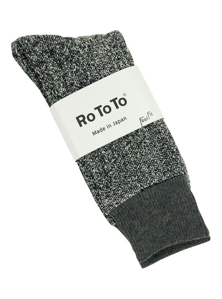 Rototo Double Faced Socks Silk Cotton Black Dk.Gray The Northern Fells Clothing Company Full