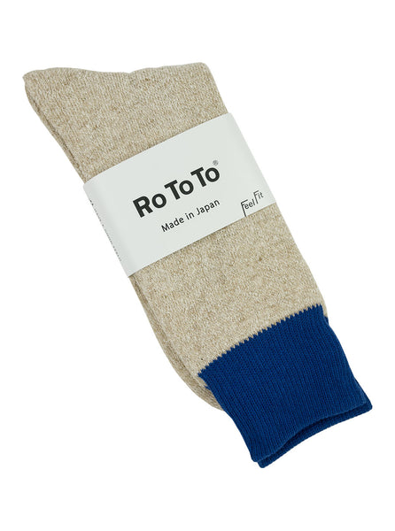 Rototo Double Faced Socks Silk Cotton Blue Beige The Northern Fells Clothing Company Full