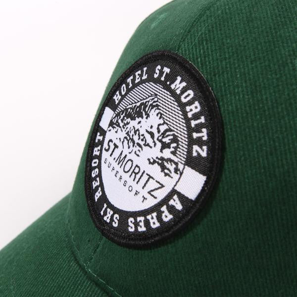 "alt=""ST-Moritz-Supersoft-classic-cap-forest-the-northern-fells-clothing-company-closeup"""