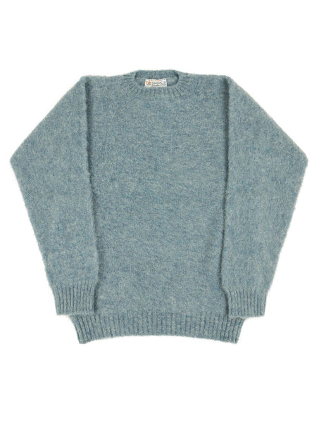Shetland Woollen Co 130 Sky shaggy dog knit sweater The Northern Fells Clothing Company Full