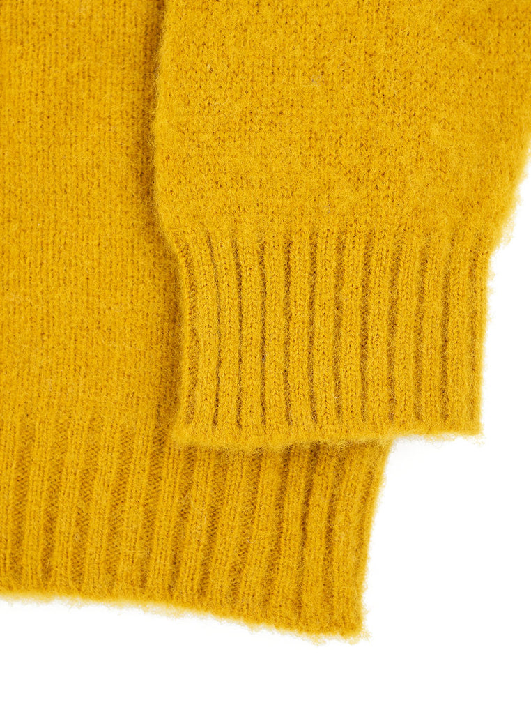 Shetland Woollen Company Shaggy Dog Mustard Made in Scotland The Northern Fells Clothing Company Sleeve
