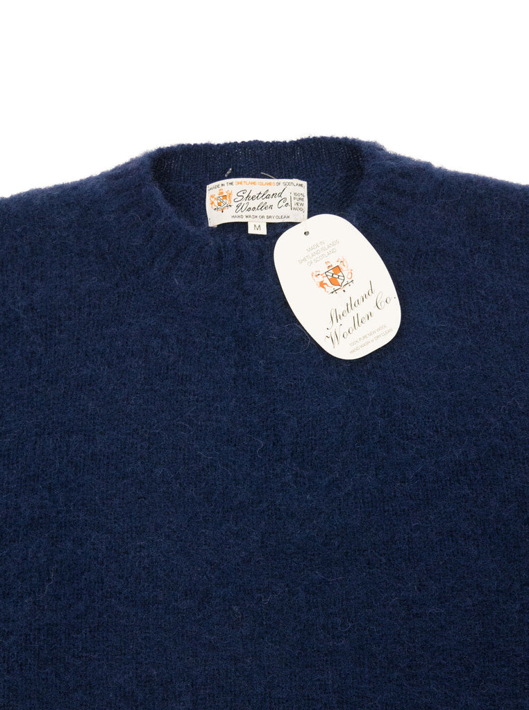 Shetland woollen Knitwear Shaggy's Navy The Northern fells clothing company neck