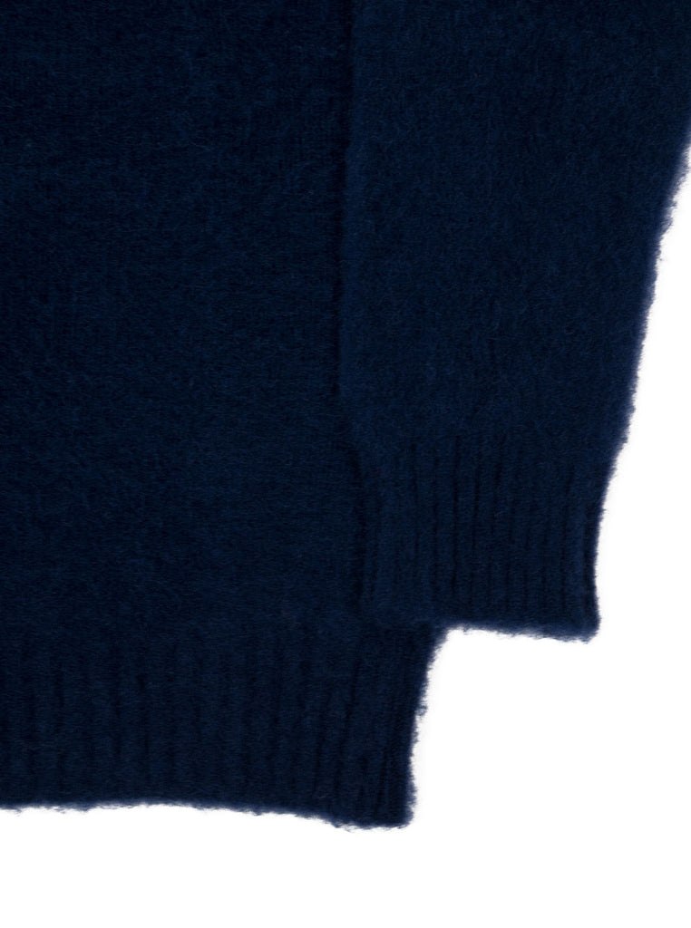 Shetland woollen Knitwear Shaggy's Navy The Northern fells clothing company sleeve