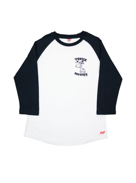 TSPTR 715C Snoopy Venice Dogtown Raglan White Navy T-Shirt The Northern Fells Clothing Company Full