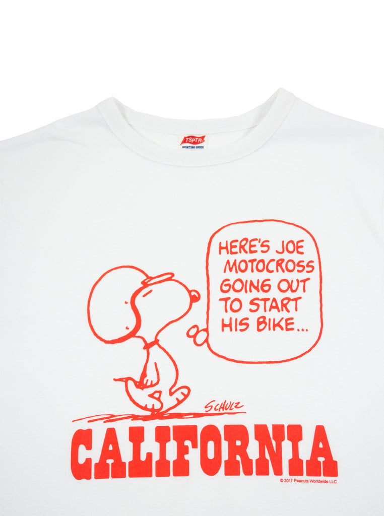 TSPTR 716A Snoopy Joe Motorcross California White T-Shirt The Northern Fells Clothing Company Neck