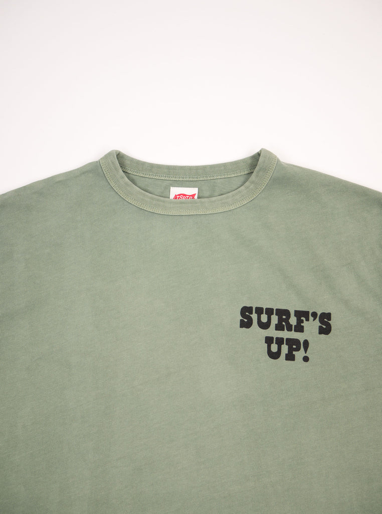 TSPTR 817C Surfs up Faded Olive T Shirts The Northern Fells Clothing Company Chest