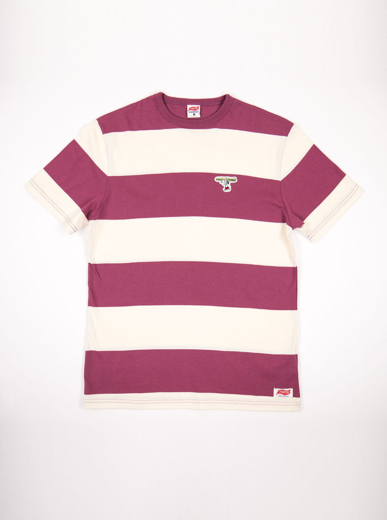 TSPTR 830B Surf up Border Tee Burgundy The Northern Fells Clothing Company Front