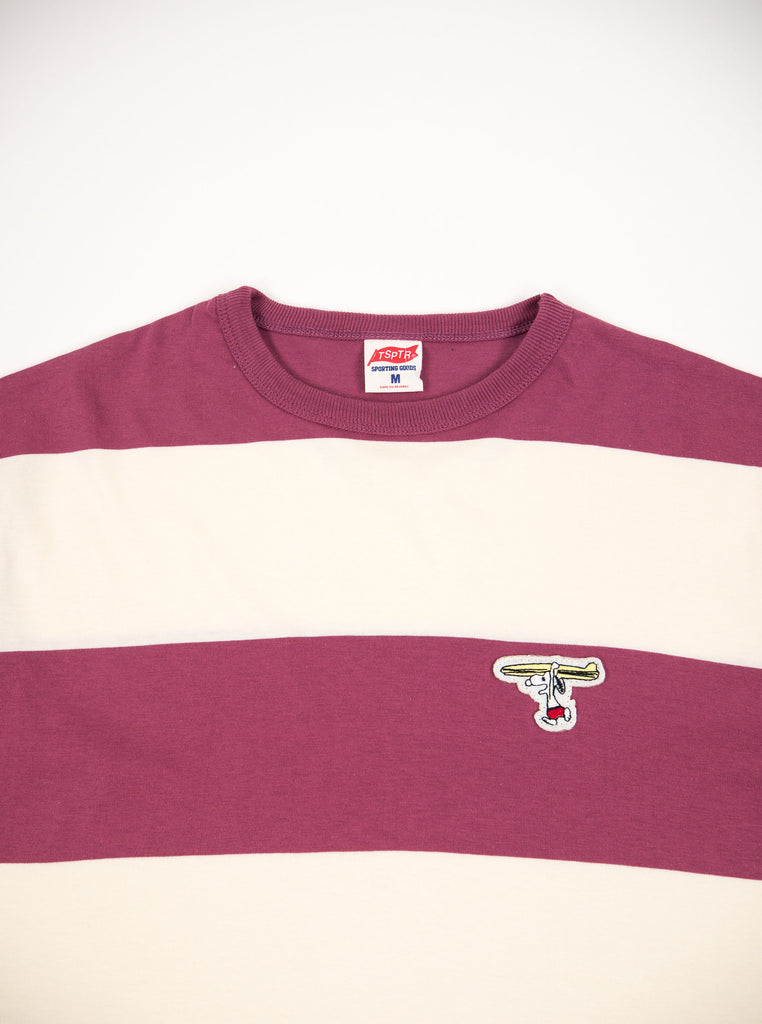 TSPTR 830B Surf up Border Tee Burgundy The Northern Fells Clothing Company neck
