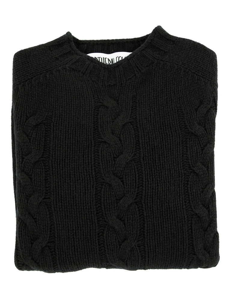The Northern Fells Clothing Company Cable Knit Sweater Made in Scotland Black Folded