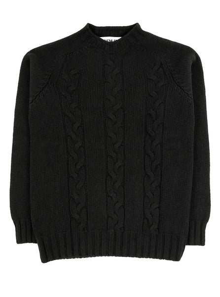 The Northern Fells Clothing Company Cable Knit Sweater Made in Scotland Black Full