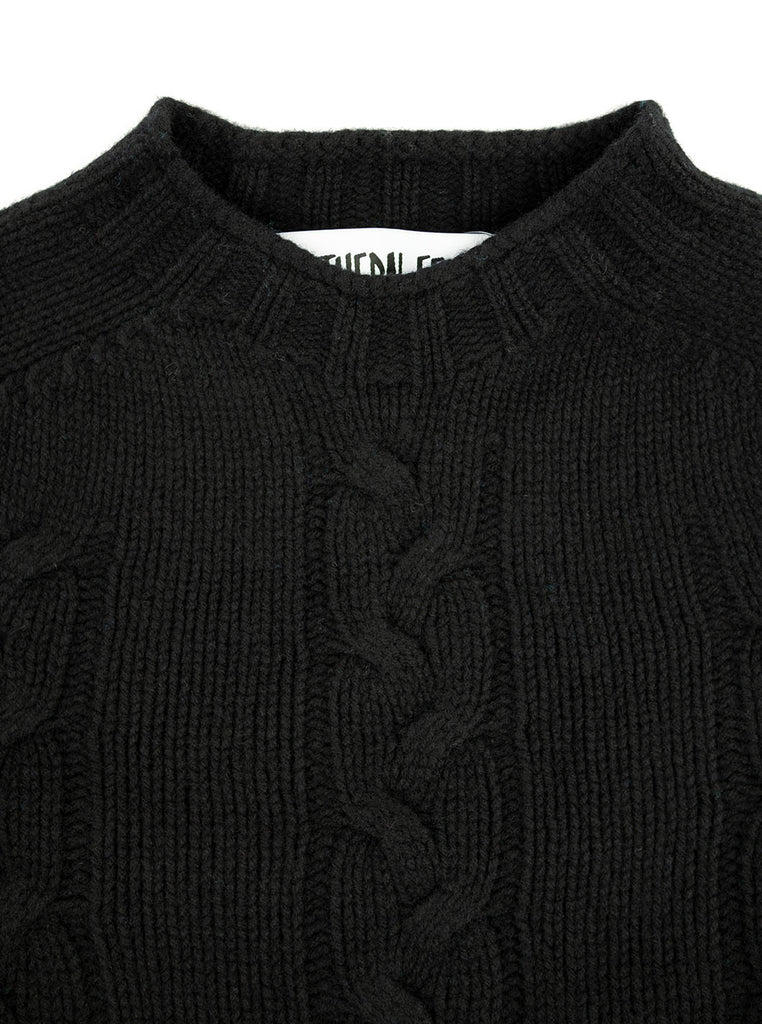 The Northern Fells Clothing Company Cable Knit Sweater Made in Scotland Black Neck