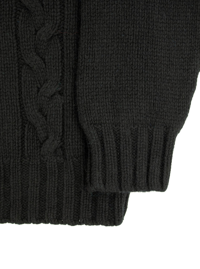 The Northern Fells Clothing Company Cable Knit Sweater Made in Scotland Black Sleeve