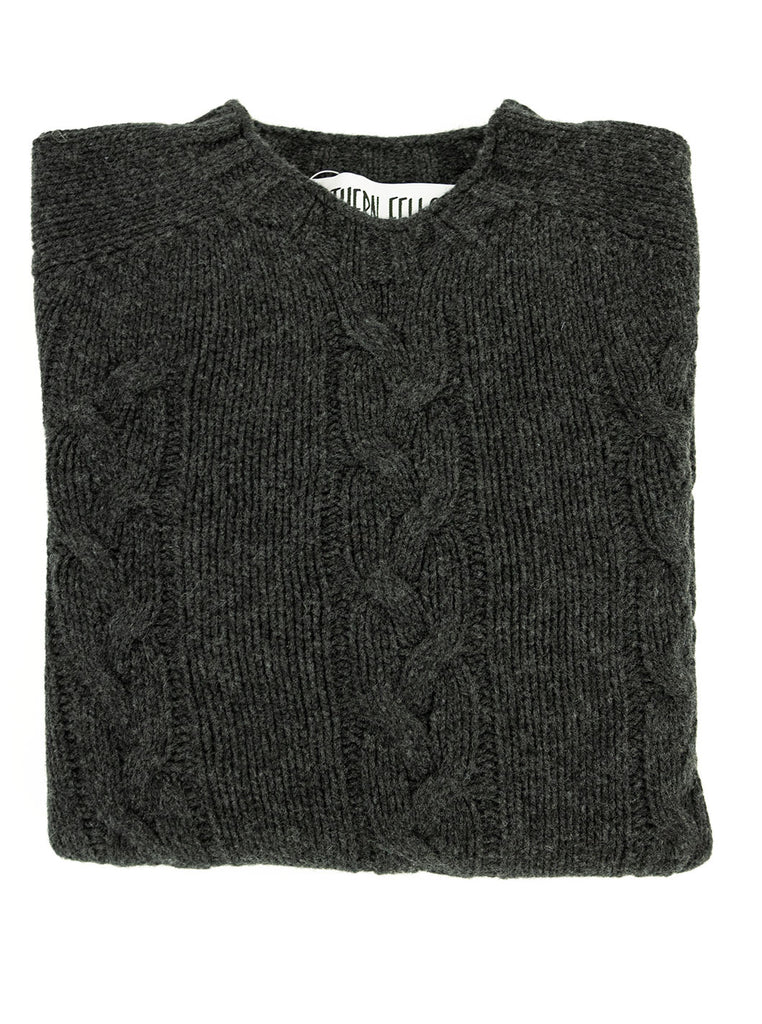The Northern Fells Clothing Company Cable Knit Sweater Made in Scotland Charcoal Folded