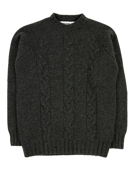 The Northern Fells Clothing Company Cable Knit Sweater Made in Scotland Charcoal Full