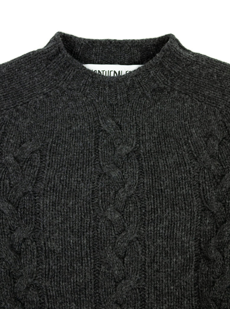 The Northern Fells Clothing Company Cable Knit Sweater Made in Scotland Charcoal Neck