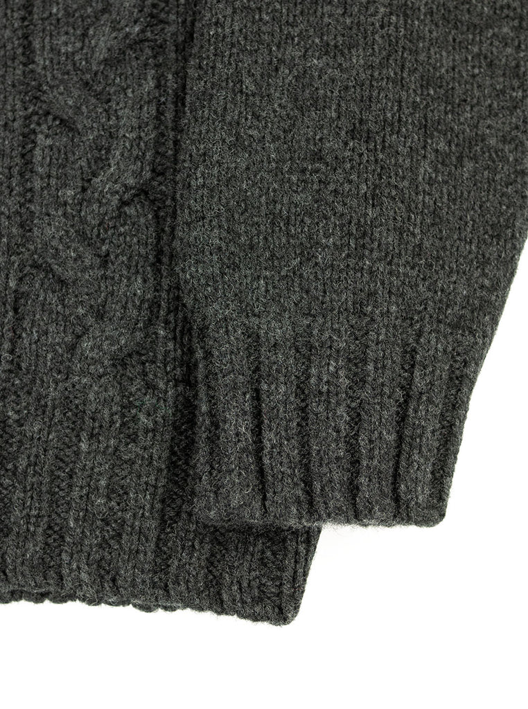 The Northern Fells Clothing Company Cable Knit Sweater Made in Scotland Charcoal Sleeve