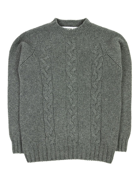 The Northern Fells Clothing Company Cable Knit Sweater Made in Scotland Derby Grey Full