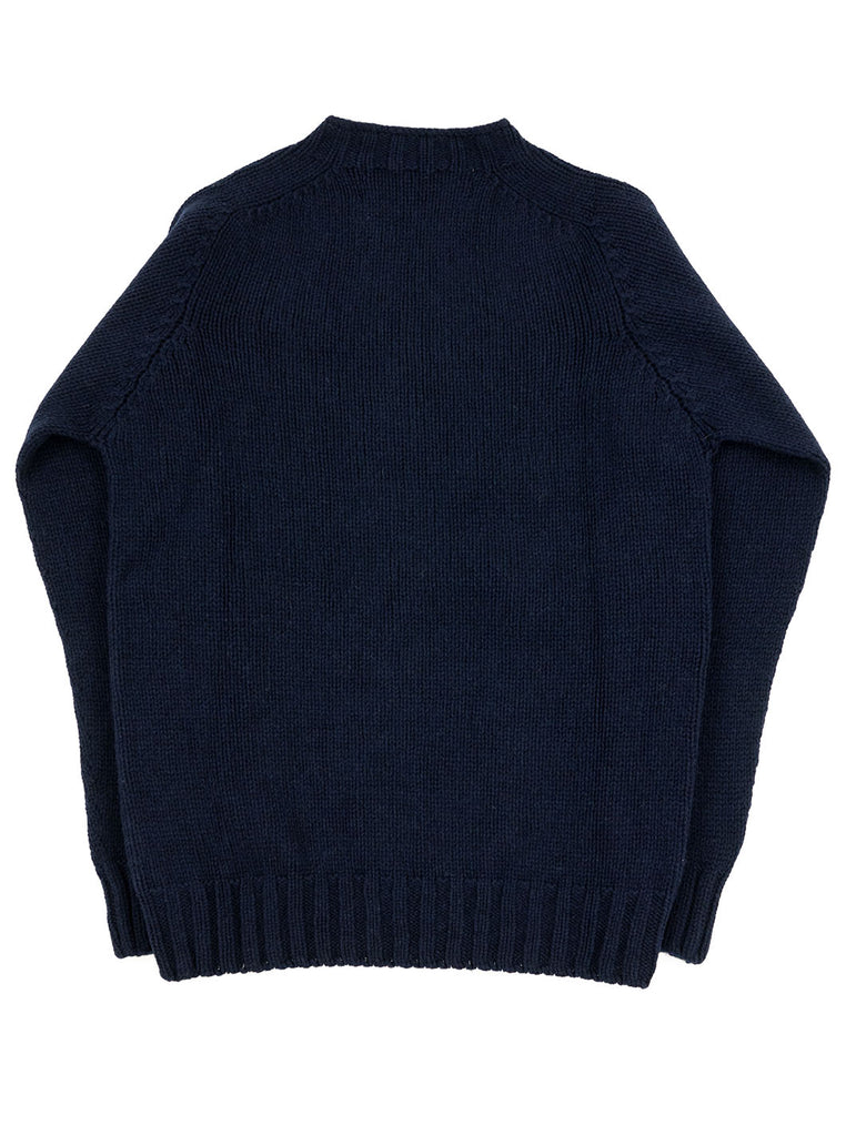 The Northern Fells Clothing Company Cable Knit Sweater Made in Scotland Navy Back