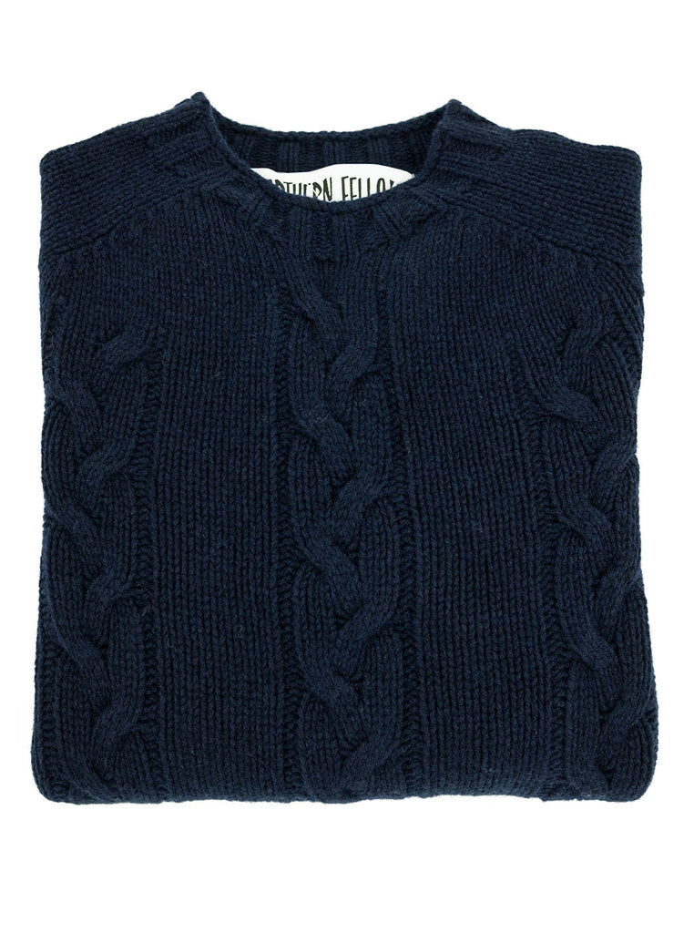 The Northern Fells Clothing Company Cable Knit Sweater Made in Scotland Navy Folded