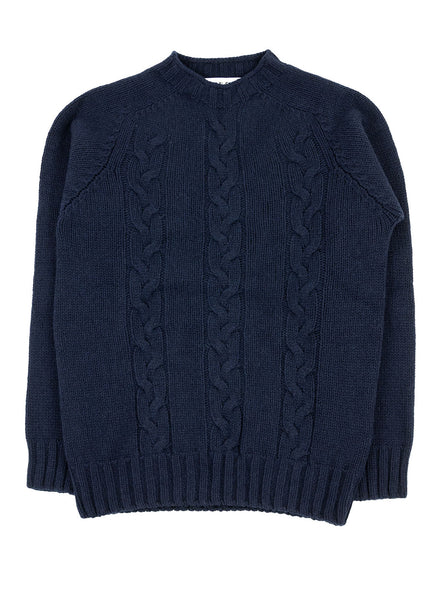 The Northern Fells Clothing Company Cable Knit Sweater Made in Scotland Navy Full